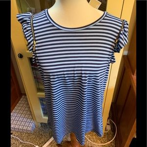 NWT Stripped Top, Gold Zippers Cap Sleeves #56
